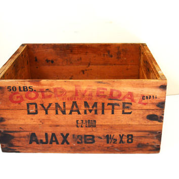 Vintage Wooden Box, Ajax Dynamite Box, Collectible Wood Box, Explosives Box, Advertising Box, Dynamite Crate,Storage Box, Shipping Crate