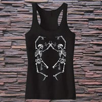 Womens Halloween Dancing SKELETON Screen Print Tank top for womens and mens heppy fit