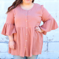 Weekend Trip Blouse in Rose {Curvy}