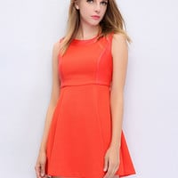 Orange Faux Leather Panel  Sleeveless A-Line Skater Dress