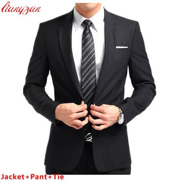 Suit Sets Slim Fit Tuxedo Formal Fashion Dress Suits Blazer Brand Cotton Party Wedding Suits