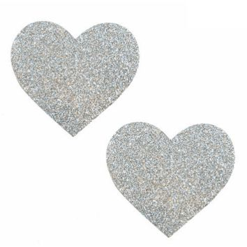 Pixie Dust Silver Glitter I Heart U Pasties by Neva Nude