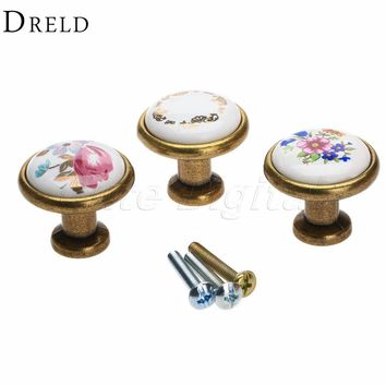 Antique Brass Kitchen Door Knob Furniture Drawer Knob Wardrobe Cupboard Pull Handle Pulls Decorative cabinet knobs and handles