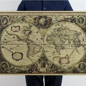Nostalgia nautical map of the world Poster Home Decoration Detailed Antique Poster Wall Chart Retro Paper Matte Kraft Paper