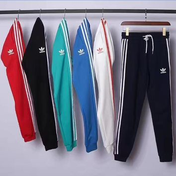 Adidas Casual Stripe Drawstring Man Women Sport Running Long Pants Sweatpants Trousers