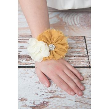 Gold and Ivory Wedding Corsage