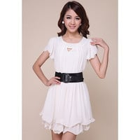 White Cut-out Pleated Chiffon Mini Dress
