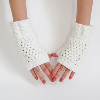 Women Fingerless Gloves In Snow White, Crochet Mittens