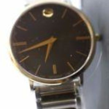 BRAND NEW MOVADO ULTRA SLIM BLACK DIAL TWO TONE STRAP MENS WATCH :0607169