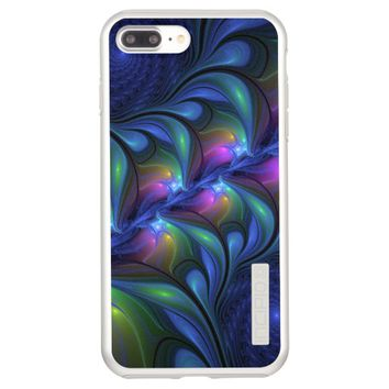Colorful Luminous Abstract Blue Pink Green Fractal Incipio DualPro Shine iPhone 7 Plus Case