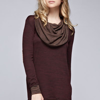 Two Tone Cowl Neck Dress - Burgundy/Mocha