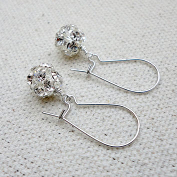 Crystal rhinestone earrings, Fire ball drop earrings, Disco ball earrings, Bridesmaid earrings