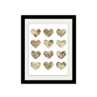 "Map in Hearts Poster. Love to Travel Print. Vintage Map. Heart Maps. Travel. 8.5x11"" Print"