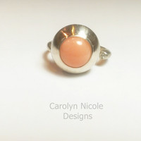 Sterling Silver Coral and Moissanite Ring by Carolyn Nicole Designs
