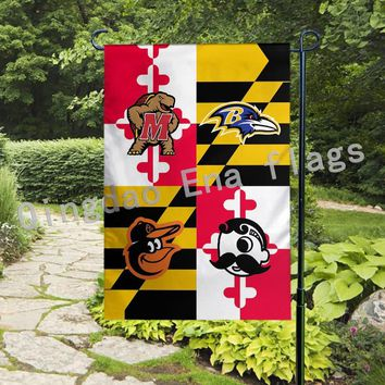 "13""x18"" Knitted Polyester Double Sided Baltimore Ravens Baltimore Orioles Natty Boh Maryland Terrapins Garden Flag"