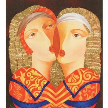 Woman in Love - Limited Edition Hand Embellished Artist Proof Giclee on Canvas by Arbe (Ara Berberyan)