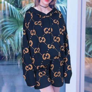 Gucci Trending Fashion Casual Long Sleeve Shorts Pullover Sweater Two Piece Set Black+Orange G