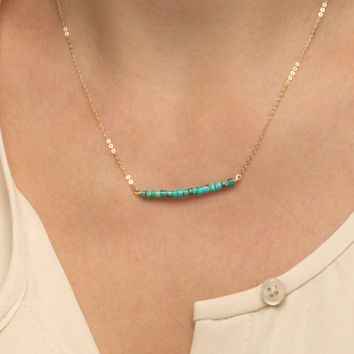 Delicate Turquoise Necklace / Simple Turquoise Bar Necklace, 14k Gold fill Chain or Sterling Silver Chain / Genuine Turquoise Necklace LN602