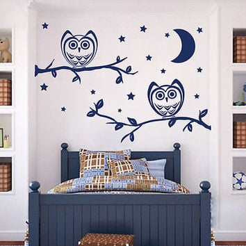 Wall Decals Owl Bird On Tree Decal Nursery Baby Room Vinyl Sticker Decor MR410