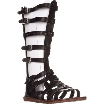 Seven Dials Sarita Knee-High Gladiator Sandals, Black/Smooth, 5.5 US