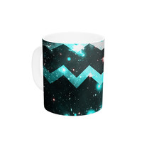"Alveron ""Aqua Galaxy Chevron"" Ceramic Coffee Mug"