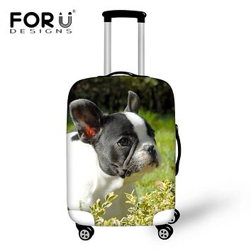 FORUDESIGNS Travel Accessories Lovely French Bull Dog Printing Luggage Protective Covers for 18-30 Inch Suitcase Dust Rain Cover