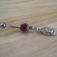 Belly Button Ring - Body Jewelry - Buddha Head with Dark Pink Gem Stone Belly Button Ring