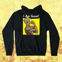 I am Groot Customiz Hoodie men women Unisex adults Screenprint size S,M,L,XL,XXL