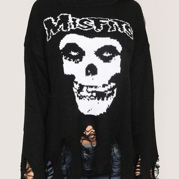 Misfits Shredded Sweater - Tops - Clothes at Gypsy Warrior