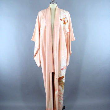 Vintage 1960s Silk Kimono Robe / 60s Wedding Dressing Gown Lingerie / Downton Abbey Art Deco / Pastel Peach Floral Print
