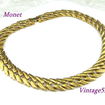 Monet Collar Necklace Satin Matte Gold tone
