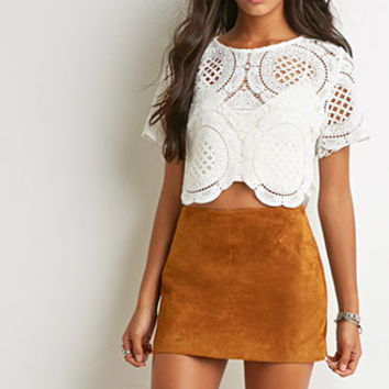 Genuine Suede Mini Skirt