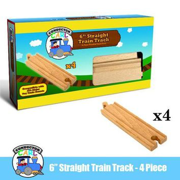 6'' Straight Wooden Train Tracks, 4-pack