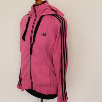 Pink ADIDAS Trefoil Jacket Windbreaker Training Jogging Sports Adidas 3 Stripes Pink J