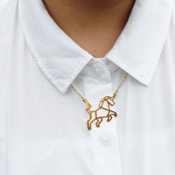 New Trendy Gold Silver Unicorn Origami Necklace Animal Pendant Hunger Games Necklace Women Best Friend
