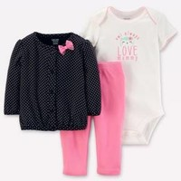 Baby Girls' 3pc Cardigan Set - Just One You™ Made by Carter's® Black/Pink Owl