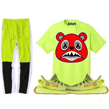 Yeezy 350 Boost Frozen Semi Yellow Sneaker Outfit - ANGRY BAWS - Shirt + Track Pants