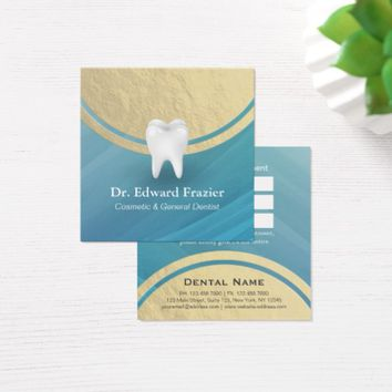 Cosmetic & General Dentist Appointment Blue & Gold Square Business Card