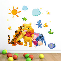 cartoon Winnie the Pooh Bear Tiger Wall stickers for kids rooms nursery Children wall decals decorative Wallpaper Poster Mural
