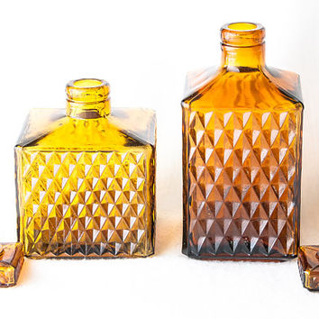 "Decanters Pressed Glass Dark Amber  Set of Two Bottles with Stoppers 5"" & 7"" Diamond Waffle Pattern"