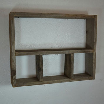 Big rustic country wall shelf  shadow box style 21x17