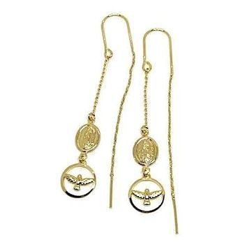 Virgin with Dove Charms Threaders Earrings 18K of Gold-Filled