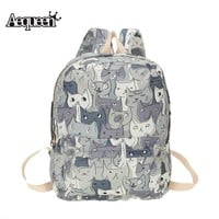 School Backpacks  for kids  for college Cute Cat Canvas