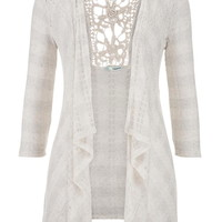 cardigan with metallic stripes and lace back in oatmeal