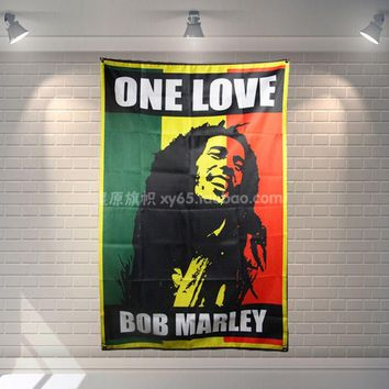 """ONE LOVE BOB MARLEY"" Heavy metals Poster Scrolls Bar Cafes Restaurant Home Decor Banners Hanging Art Waterproof Cloth Decor"
