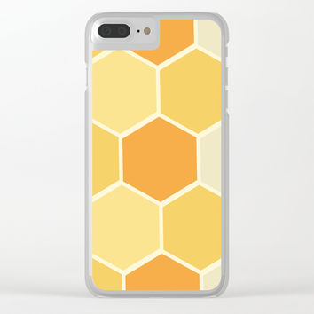 Yellow Honeycomb Clear iPhone Case by spaceandlines