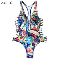 ZAFUL Women Plus Size Colorful Print One Piece Swimwear Monokini Swimsuit Bathing Suit Female Hollow Out Swim Beach Wear