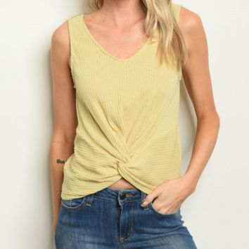 Twist and Shout Tank in Yellow
