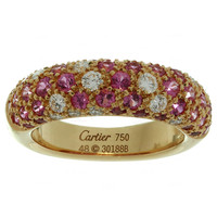 Cartier Pink Sapphire Diamond Gold Band Ring