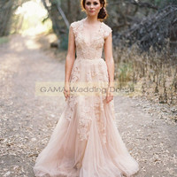 Blush Wedding Dresses with Appliques Country Bridal Gowns Size 2 4 6 8 10 12 14